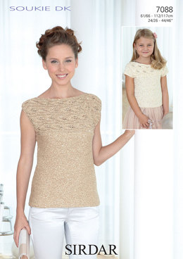 Sleeveless and Short Sleeved Tops in Sirdar Soukie DK - 7088 - Downloadable PDF