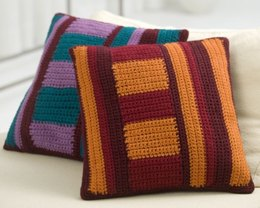 Mod Striped Pillows in Red Heart Super Saver Economy Solids - LW2478