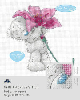 DMC Me To You - Tatty Teddy & Tiny Tatty Teddy - Pink Lily (printed fabric) - 15cm x 15cm