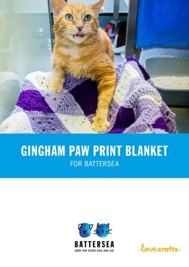 Gingham Paw Print Pet Blanket for Battersea