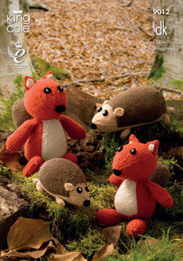 Hedgehog and Squirrel Toys in King Cole Merino Blend DK - 9012
