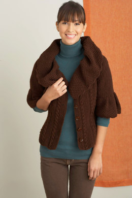 Dressmaker Detail Cardigan in Lion Brand Wool-Ease - 70567AD