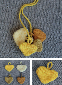 Little Yellow Hearts of Love in Sublime Extra Fine Merino DK & Sirdar Snuggly Snowflake DK