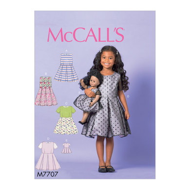 """McCall's Children/Girls' Dresses and 18"""" Doll Dress M7707 - Sewing Pattern"""