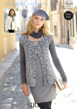Cardigan & Waistcoat in Sirdar Denim Ultra Super Chunky - 9239 - Downloadable PDF