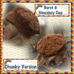 Cabled Beret and Newsboy Cap - Chunky Version