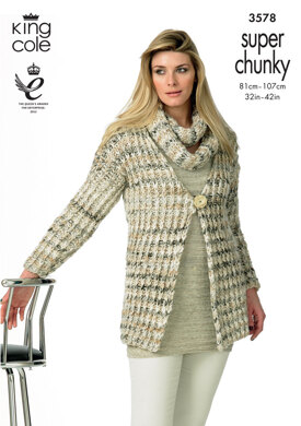 Slip Stitch Jackets and Snood in King Cole Gypsy Super Chunky - 3578