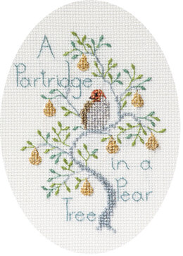 Derwentwater Designs A Partridge in a Pear Tree Card Cross Stitch Kit - 12.5cm x 18cm