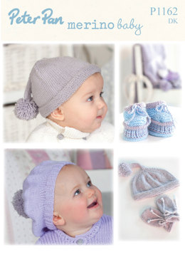 Accessories, Hat and Scarf in Peter Pan Merino Baby DK - 1162