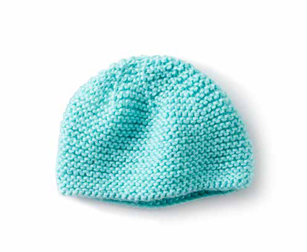 Mini Garter Stitch Knit Cap in Caron Simply Soft - Downloadable PDF