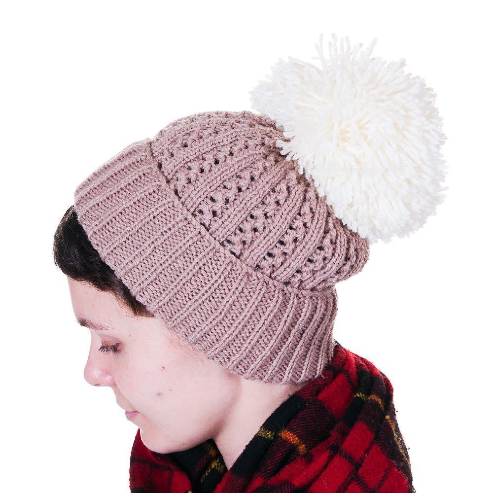 Giant Pom-Pom Beanie Knitting pattern by Haloopa Joop Knitting Patterns L...