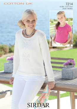 Woman's and Girl's Sweaters in Sirdar Cotton DK - 7214