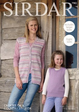 Tank Top and Waistcoat in Sirdar Crofter DK & Country Style DK - 7982 - Downloadable PDF