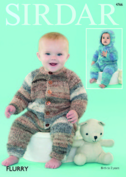 Hooded and Round All in Ones Onsies in Sirdar Flurry - 4766 - Leaflet