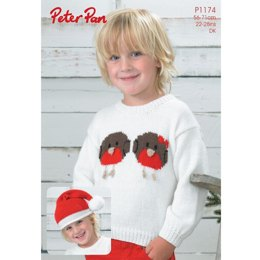 Robin Sweater and Hat in Peter Pan DK - 1174