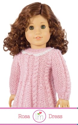 Rosa Dress for 18 inch dolls. Doll Clothes Knitting Pattern.