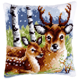 Vervaco Deer Family Cushion Front Chunky Cross Stitch Kit