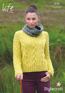 Womens' Sweater and Cowl in Stylecraft Life Chunky