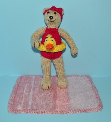 Tessa Teddy With Swimming Outfit Knitting Pattern By Candice Le Grange