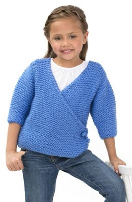 Cute Kimono Sweater in Red Heart Soft Baby Steps Solids - LW3134