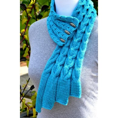Waterfall Cables Scarf ( Stay On/ Buttoned / Cable Scarf Knitting Pattern )