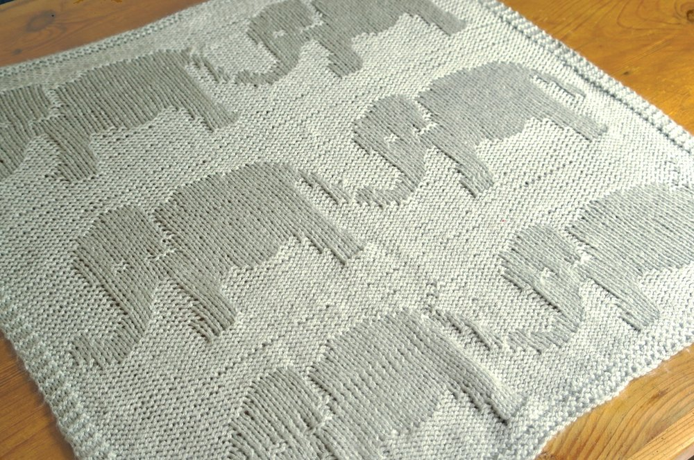 Easy Elephant Baby Blanket Knitting Pattern By Sproglets Kits