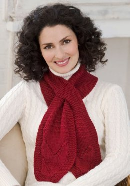 Knit Keyhole Scarf in Red Heart Soft Solids - LW2464