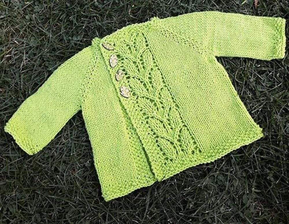 Free Knitting Pattern For Baby Cardigan In Double Knit : Leaf Love Baby Sweater Knitting pattern by Taiga Hilliard ...