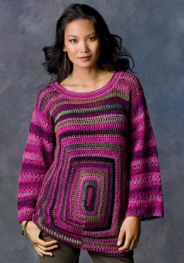 Square Deal Sweater in Red Heart Boutique Unforgettable - LW2872