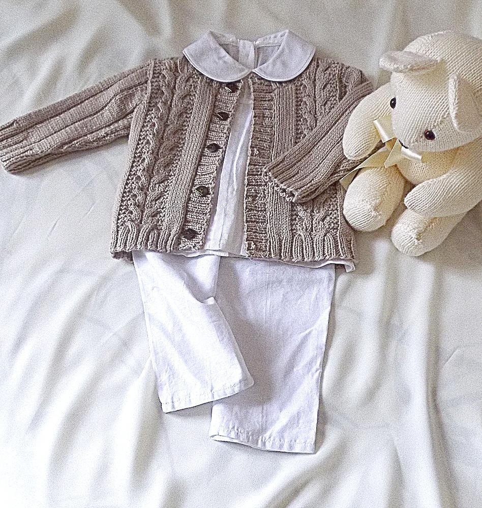 Knitting Designs For Baby Sweaters : Baby child sweater with cables and rib sleeve knitting