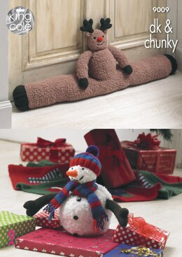 Rudolph Draught Excluder, Christmas Tree Skirt and Snowman Toy in King Cole Chunky & DK - 9009