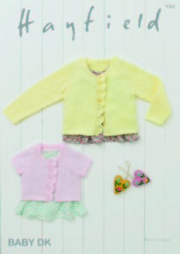 Long Sleeved and Short Sleeved Cardigans in Hayfield Baby DK - 4762