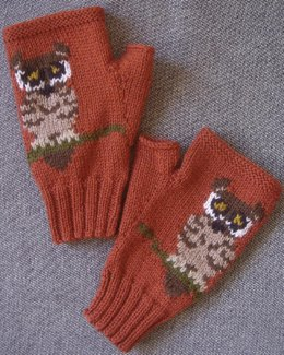 Tiny Owl fingerless gloves/mitts