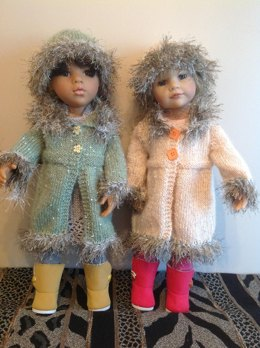 """Dolls fur trimmed coat and hat for 18"""" doll."""