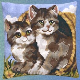 Pako Cat Duo Cushion Front Chunky Cross Stitch Kit - 40cm x 40cm