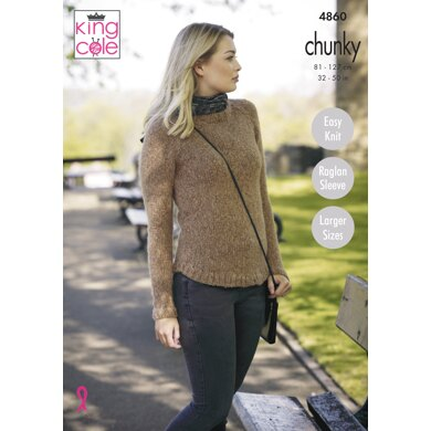 Ladies' Sweaters in King Cole Indulge Chunky - 4860 - Downloadable PDF
