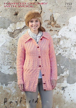 Woman's Jacket in Hayfield Chunky with Wool - 7153 - Downloadable PDF