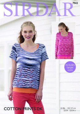 Long and Short Sleeved Sweaters in Sirdar Cotton Prints DK - 7943 - Leaflet