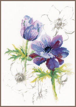 Lanarte Counted Cross Stitch Kit Blue Anemones