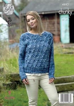 Sweater & Cardigan in King Cole Big Value Tonal Chunky - 4882 - Leaflet