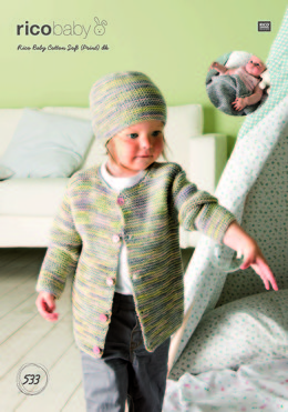 Cardigan, Hat and Blanket in Rico Baby Cotton Soft (Print) DK - 533