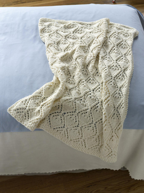 Free Knitting Pattern 80115ad Winter Lace Afghan Lion : Cozy Luxe Baby Throw in Lion Brand Babys First - 90428AD ...