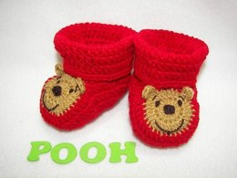 Pooh Baby Booties