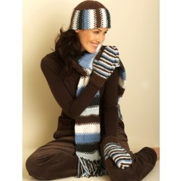 Hat, Scarf and Mittens in Bernat Satin