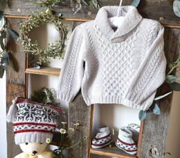 Baby Sweater (Cables & Shawl Collar) + Fair Isle Hat and Boots - P015