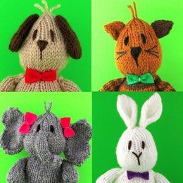 Sam Bear and Friends - Dog, Cat, Elephant and Rabbit.