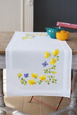 Vervaco Spring Flowers Tablerunner Embroidery Kit - 40 x 100cm