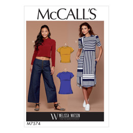 McCall's Misses' Knit, Raglan Sleeve Pullover Tops, Tunic, and Dress M7574 - Sewing Pattern