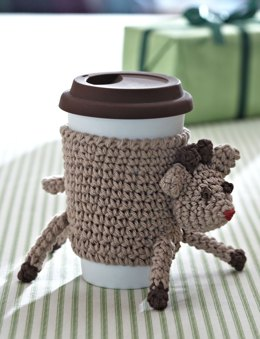 Reindeer Cup Cozy in Bernat Handicrafter Cotton Solids