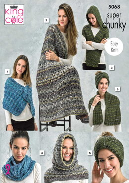 Textured Wrap, Lace Lap Blanket, Hooded Scarf, Cowl/Snood, Neck Knot/Head Knot & Ribbed Wrap in King Cole Gypsy Super Chunky - 5068pdf - Downloadable PDF